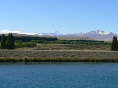 First view of Mt Cook on the salmon farm road