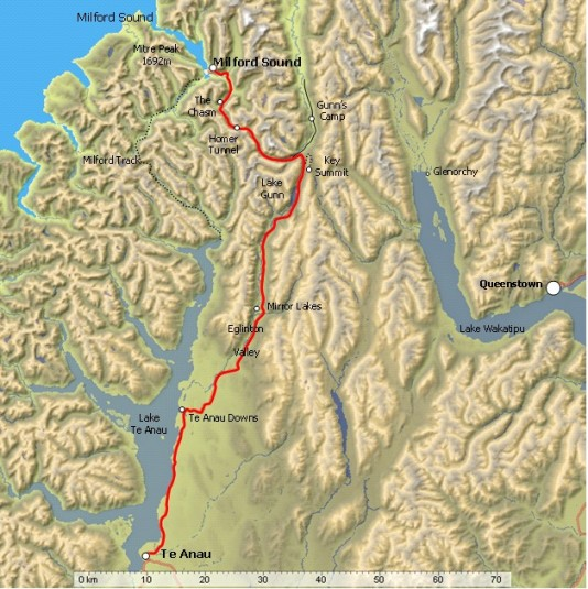 Te Anau to Milford Sound map