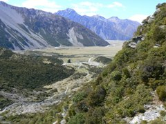 Looking down the Hooker Valley