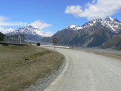 Bridge at start of the dusty road to Tasman Glacier