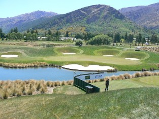 View of the 6th green, a challenging 230m par 3 at The Hills