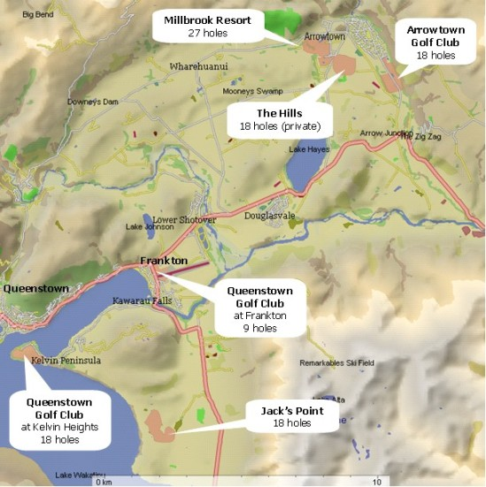 Golf courses in the Queenstown area