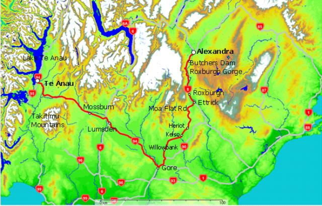 Map of Alexandra to Te Anau via Roxburgh and Moa Flat Road